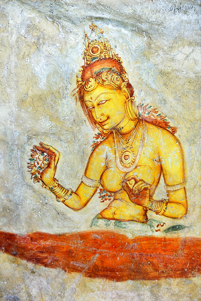 Fresco of the Cloud Girls on the Lion Rock of Sigiriya, UNESCO World Heritage Site, Sri Lanka, Asia