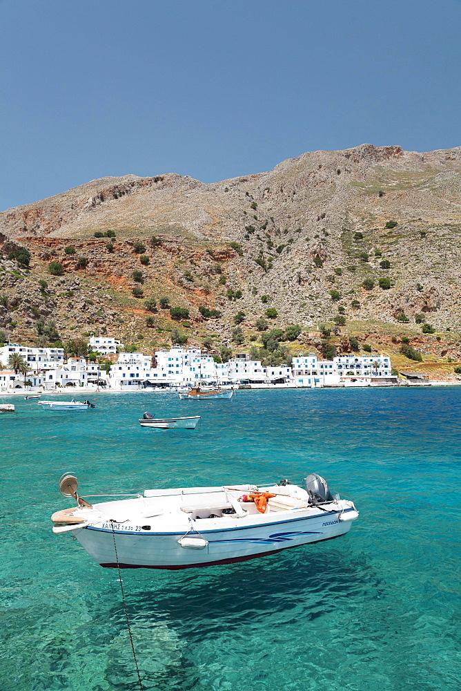 Boat off the coast, Loutro, South Crete, Crete, Greece, Europe - 832-382922