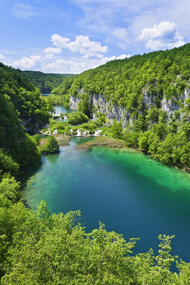 The lower lakes, Gavanovac Lake and Milanovac Lake, Plitvice Lakes National Park, UNESCO World Heritage Site, Croatia, Europe