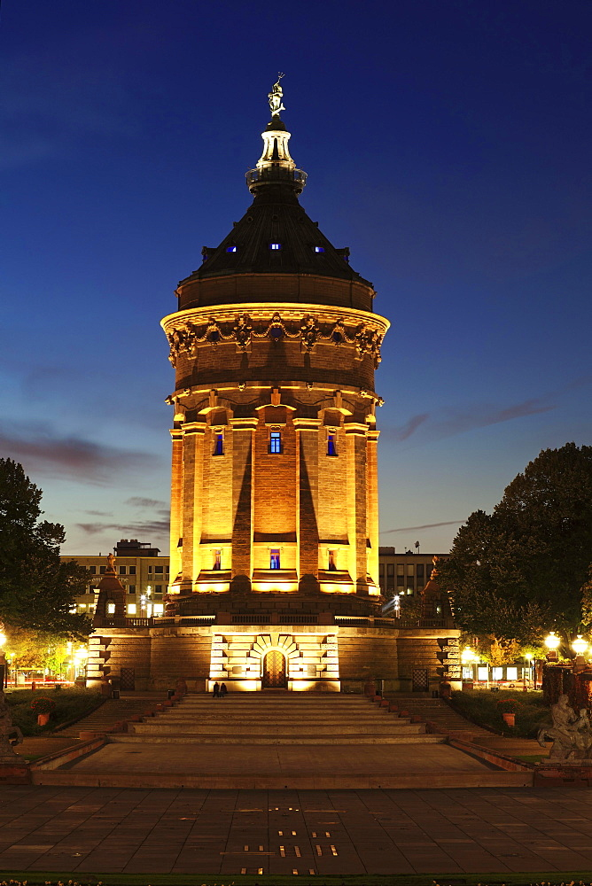Wasserturm, water tower, Mannheim, Baden-Wurttemberg, Germany, Europe