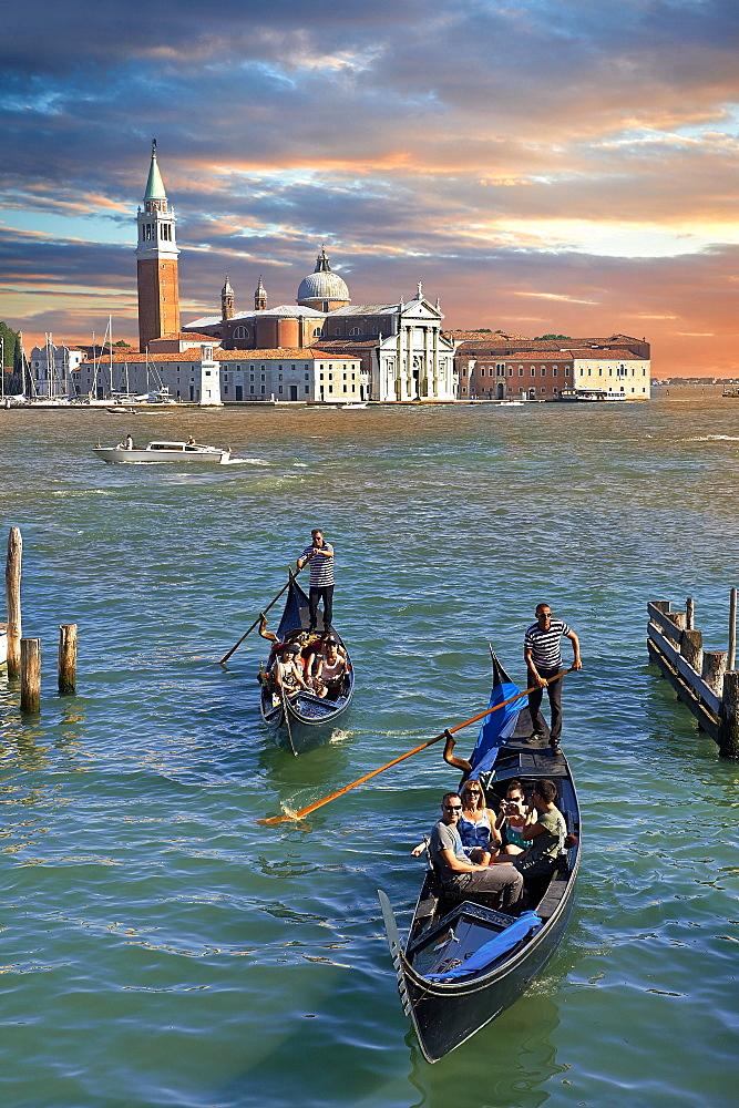 Gondolas off the island of San Giorgio Maggiore, Venice, Veneto, Italy, Europe