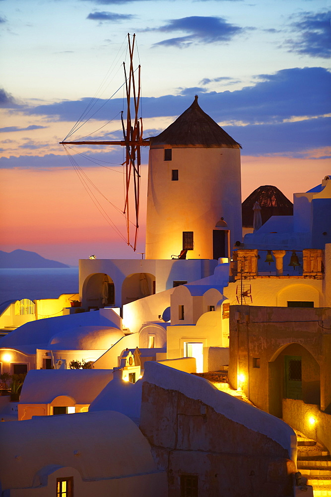 Windmill at sunset, Oia, Santorini, Cyclades, Greece, Europe - 832-382941