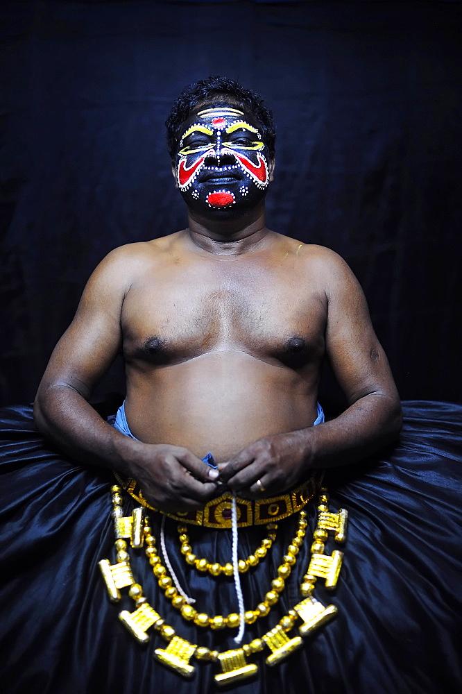 Kathakali actor, demon character, Varkala, Kerala, South West India, India, Asia