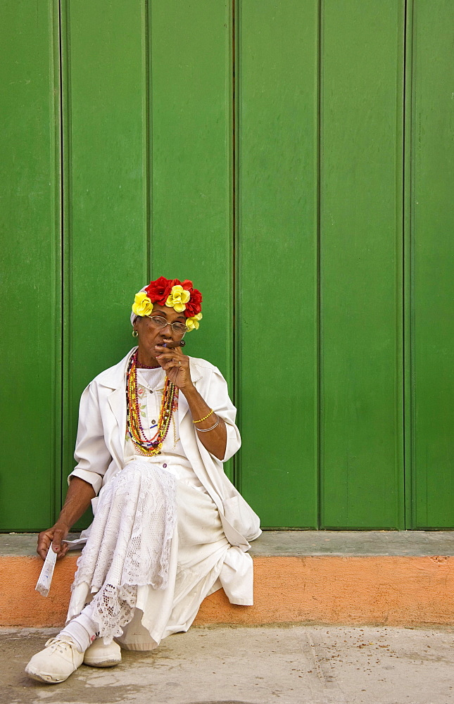Local woman posing with a cigar, Havana, Cuba, Central America