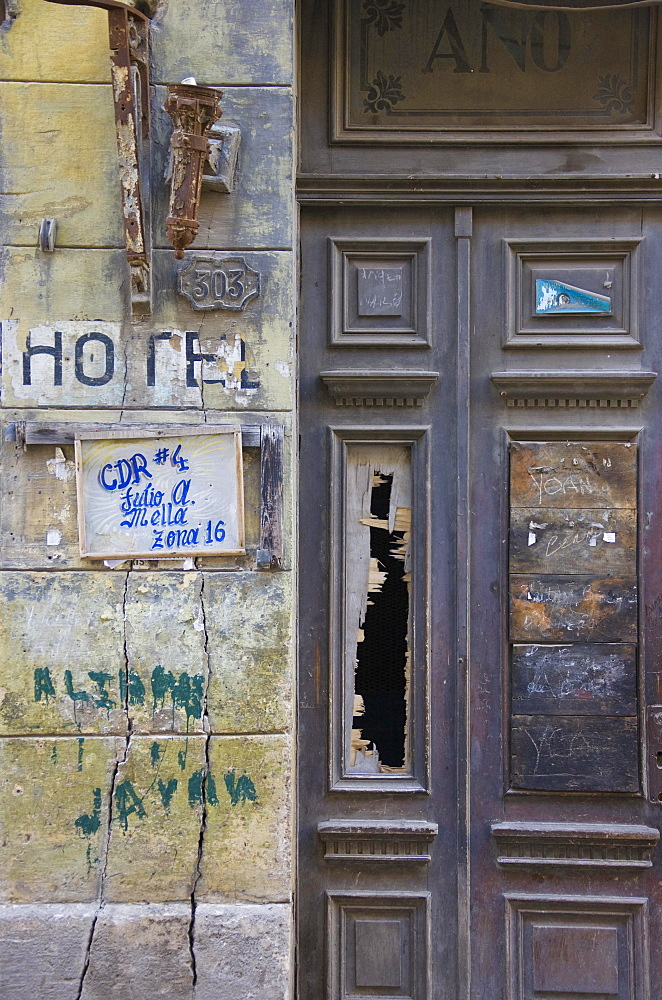 Rundown facade, Old Havana, Havana, Cuba, Central America