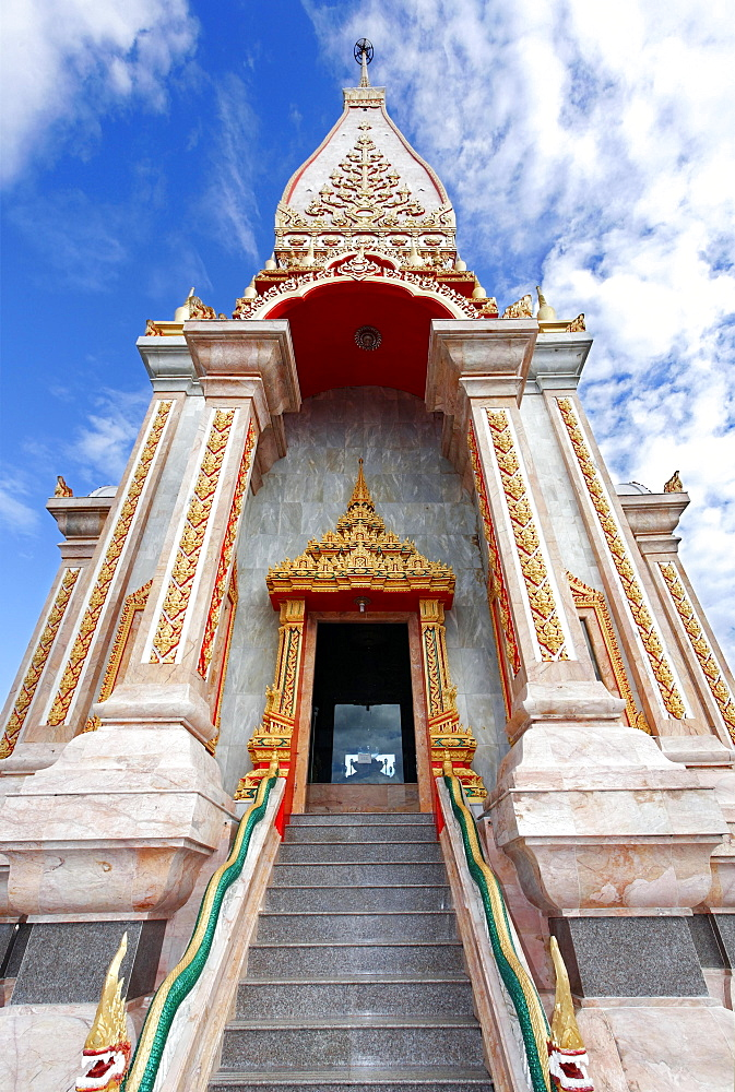 Ornate portal, stairs, Wat Chalong temple, Phuket, Thailand, Asia