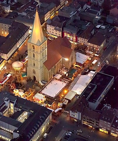 Aerial view, Pauluskirche church, the Christmas market and a skating rink at night, Hamm, Ruhr area, North Rhine-Westphalia, Germany, Europe