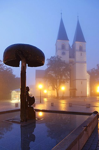 Market square with Deocar fountain and the Collegiate Church of St. Vitus and St. Deocar, in fog, Herrieden, Altmuehltal Valley, Middle Franconia, Bavaria, Germany, Europe, PublicGround