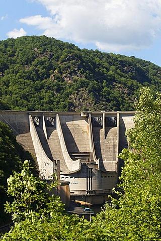 Hydroelectric dam of Aigle, Dordogne river, Correze, Limousin, France, Europe
