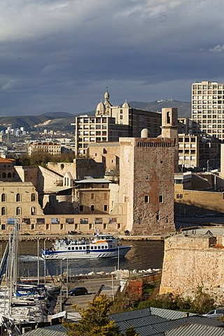 Fort Saint Jean, entrance of the Vieux Port, old port, Marseille, Bouches-du-Rhone, Provence, France, Europe