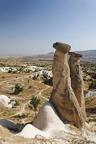 Fairy chimneys, tuff landscape in Uerguep, Cappadocia, Central Anatolia, Turkey, Asia