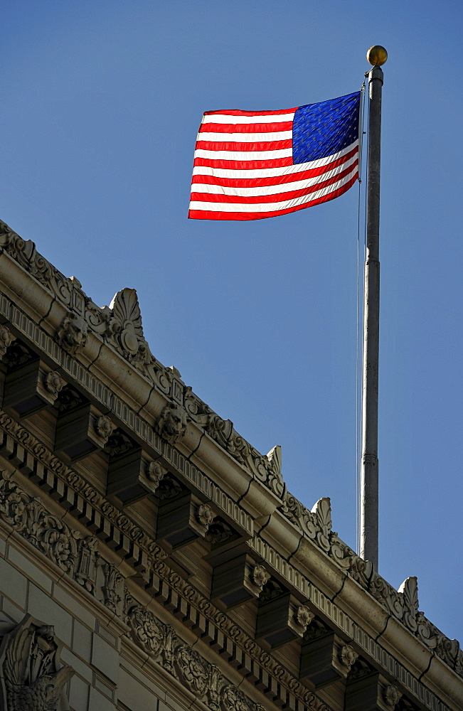 US Flag at the Times Square Building, Seattle, Washington, United States of America, PublicGround
