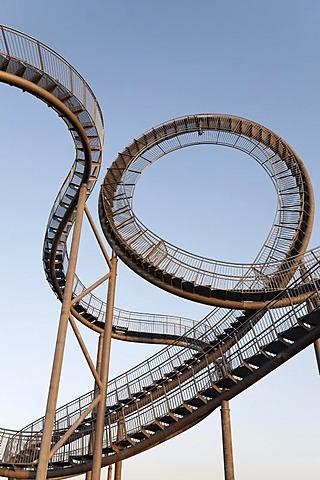 Tiger & Turtle - Magic Mountain sculpture, landmark, walkable sculpture in the Angerpark, roller coaster-shaped, Duisburg, Ruhr area, North Rhine-Westphalia, Germany, Europe