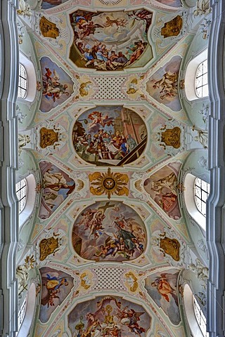 Ceiling paints, monastery church of St. Georg, Kloster Ochsenhausen Monastery, Ochsenhausen, Biberach district, Upper Swabia, Baden-Wuerttemberg, Germany, Europe