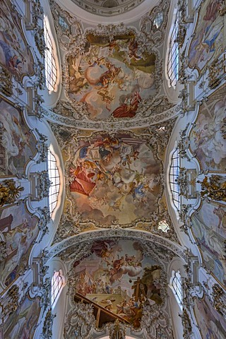 Ceiling paintings in the magnificent parish church of St. John the Baptist, old Premonstratensian abbey church, Steingaden, Upper Bavaria, Bavaria, Germany, Europe