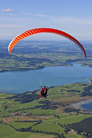 Tandem paragliders overlooking Froggensee lake, Tegelberg Mountain, Upper Bavaria, Bavaria, Germany, Europe, PublicGround