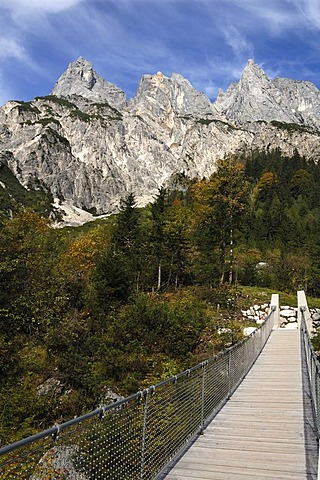 Suspension bridge in Klausbachtal valley, rebuilt after a landslide in 2010, Muehlsturzhoerner mountains, Hintersee, Upper Bavaria, Bavaria, Germany, Europe