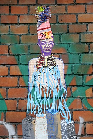 Street art and graffiti on red brickwork, Kreuzberg, Berlin, Germany, Europe