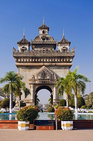 Arch of Triumph, Patuxai, Vientiane, Laos, Indochina, Southeast Asia, Asia