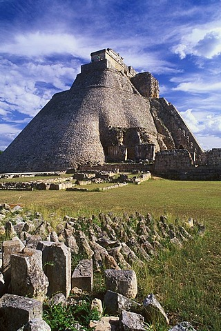 Pyramid of the Soothsayers, Puuc Mayan ruins of Uxmal, Yucatan, Mexico, North America