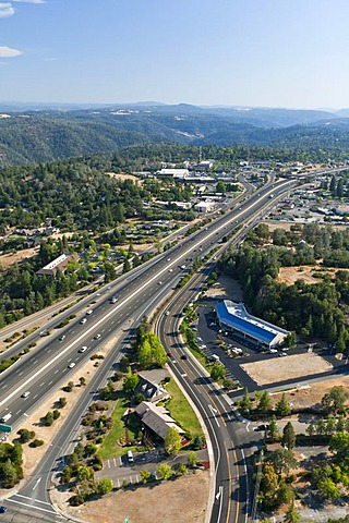 Interstate 80 highway, heading south, aerial view east of Sacramento, Auburn, California, USA, North America