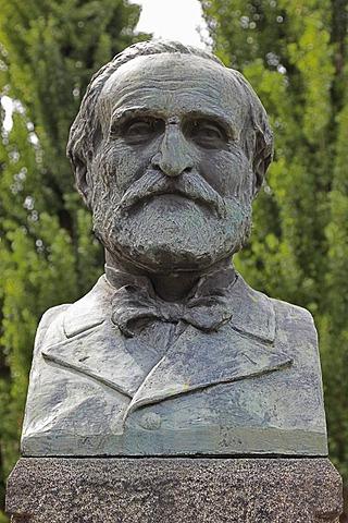 Verdi bust in front of his birth house in Rancole Verdi, Emilia Romagna, Italy, Europe