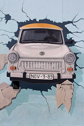 "Trabant, ""Test the Best"", East Side Gallery, Berlin Wall art, Berlin, Germany, Europe"