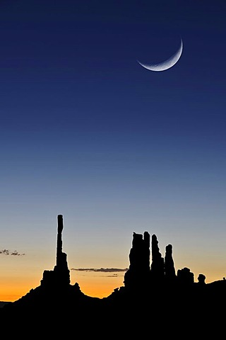 Totem Pole rock formation and Yei Bi Chei, moon, Monument Valley, Navajo Tribal Park, Navajo Nation Reservation, Arizona, Utah, United States of America, USA, composite