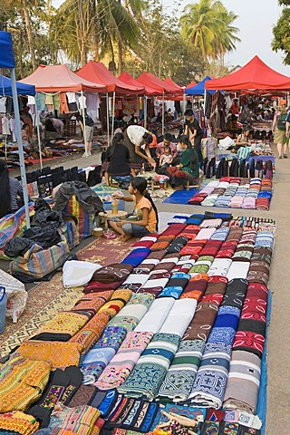 Shopping at the Handicraft Night Market, Luang Prabang, Laos, Laos, Southeast Asia