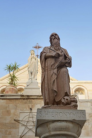 Statues of St. Jerome and St. Catherine at the Church of St. Catherine, Bethlehem, West Bank, Palestine, Western Asia