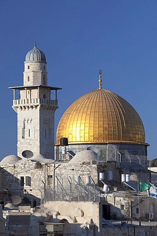 Haram esh Sharif, the Dome of the Rock and the minaret of the women's Mosque, Jerusalem, Israel, Middle East