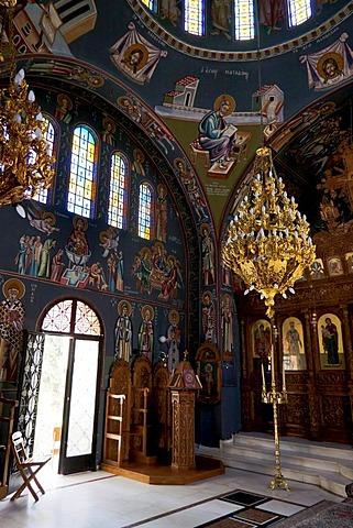 Interior view, Saint Nectarius church near Archipolis, Rhodes, Greece, Europe