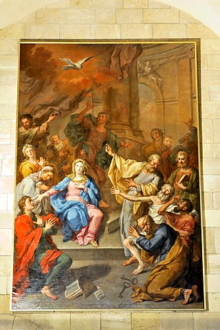 Church painting, Se Cathedral, Igreja de Santa Maria Maior, Se Patriarcal de Lisboa, construction began in 1147, Alfama, Lisbon, Lisboa, Portugal, Europe