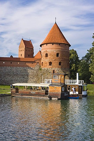 Ships off Trakai Island Castle, Trakai Historical National Park, Lithuania, Europe
