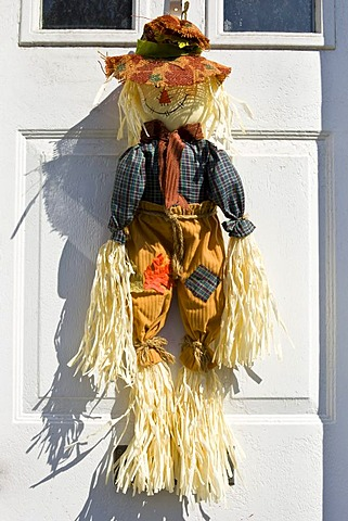 Halloween decoration on a door, Massachusetts, New England, USA