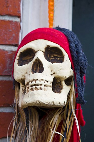 Halloween decoration at the entrance of a shop in Newburyport, Massachusetts, New England, USA