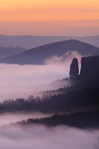Fog in the Elbe Sandstone Mountains, view of Blossstock rock, Saxony, Germany, Europe