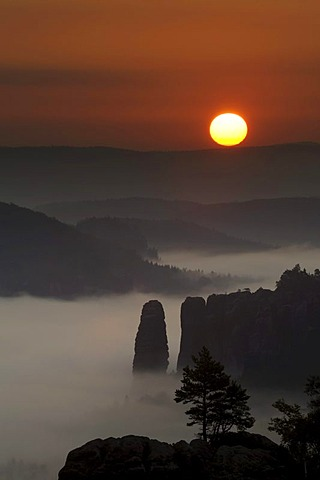 Fog in the Elbe Sandstone Mountains, sunrise over Blossstock rock, Saxony, Germany, Europe
