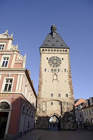 Altpoertel city gate from Postplatz square, Speyer, Rhineland-Palatinate, Germany, Europe