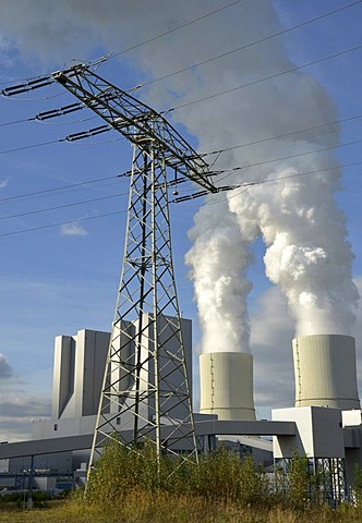 High voltage power lines at the lignite-fired power station at Lippendorf, Saxony, Germany, Europe