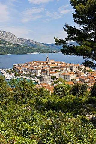 Overlooking the historic town centre of Korcula, Central Dalmatia, Dalmatia, Adriatic coast, Croatia, Europe, PublicGround