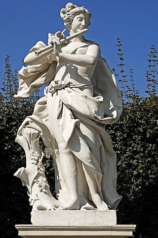 Female sculpture with flute, figure from Greek-Roman mythology, Lower Belvedere, 18th Century, Rennweg, Vienna, Austria, Europe
