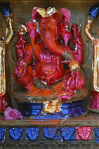 Hindu elephant god Ganesha, Mool Sagar, heritage hotel and pleasure gardens of the Mahaajas of Jodhpur near Jaisalmer, Thar Desert, Rajasthan, North India, India, Asia