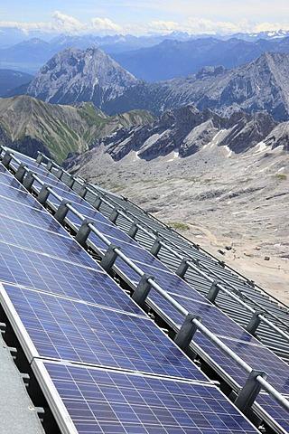 Solar panels at Munich House on Mt Zugspitze, Wetterstein range, Bavaria, Germany, Europe