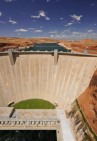 View from Highway 89 Glen Canyon Bridge on Glen Canyon Dam, Page, Glen Canyon National Recreation Area, Arizona, United States of America, PublicGround