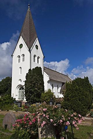 Church, village of Nebel, Amrum Island, North Frisia, Schleswig-Holstein, Germany, Europe