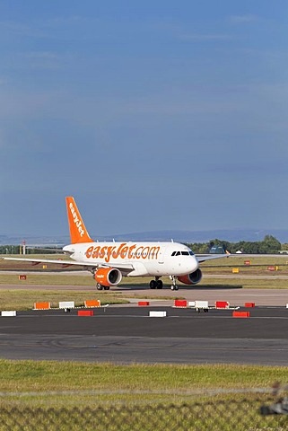 An EasyJet plane at Manchester airport, England, United Kingdom, Europe