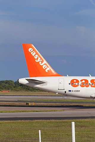 The tailfin of an EasyJet plane at Manchester airport, England, United Kingdom, Europe