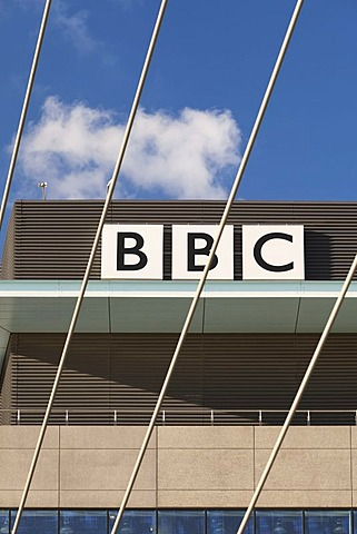 BBC sign at the new BBC Manchester office at MediaCityUK, Salford Quays, Salford, Manchester, England, United Kingdom, Europe