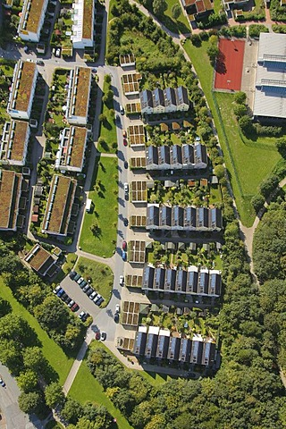 Aerial view, solar settlement in Bismarck, Gelsenkirchen, Ruhr Area, North Rhine-Westphalia, Germany, Europe
